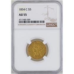 1854-C $5 Liberty Head Half Eagle Gold Coin NGC MS55