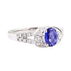 1.63 ctw Sapphire Stone And Diamond Ring -Platinum and 14KT White Gold