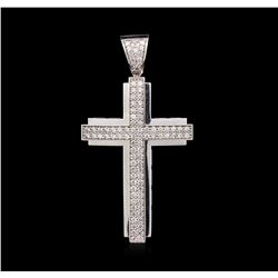 1.75 ctw Diamond Cross Pendant - 14KT White Gold