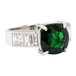 5.33 ctw Tsavorite And Diamond Ring - 18KT White Gold