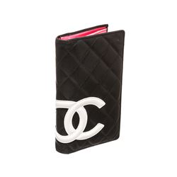 Chanel Black Quilted Leather White CC Cambon Long Wallet