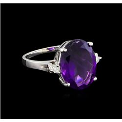 4.76 ctw Amethyst and Diamond Ring - 14KT White Gold