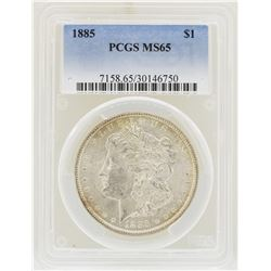 1885 $1 Morgan Silver Dollar Coin PCGS MS65