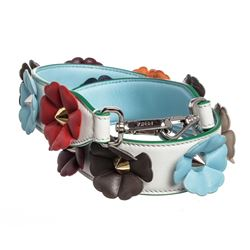 Fendi White Multicolor Leather Flowerland Strap You Interchangeable Shoulder Str