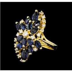 2.05 ctw Sapphire and Diamond Ring - 14KT Yellow Gold