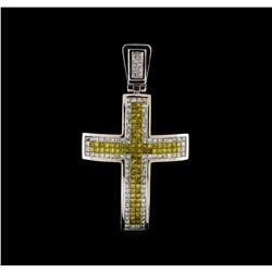 5.25 ctw Diamond Cross Pendant - 14KT White Gold