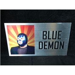 BLUE DEMON WRESTLING METAL PLAQUE (16X10)