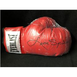LEON SPINKS SIGNED RED EVERLAST BOXING GLOVE (JSA COA)