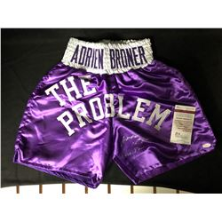 "ADRIEN ""THE PROBLEM"" BRONER SIGNED BOXING TRUNKS (JSA COA)"