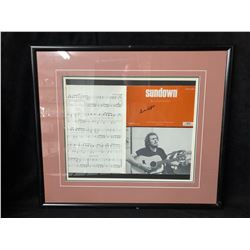 GORDON LIGHTFOOT SIGNED & FRAMED SHEET MUSIC