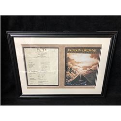 JACKSON BROWNE SIGNED & FRAMED LETTER OF CONFIRMATION (MCP PROMOTIONS LIMITED)