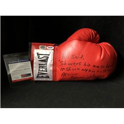 ERNIE SHAVERS SIGNED RED EVERLAST BOXING GLOVE (PSA COA)