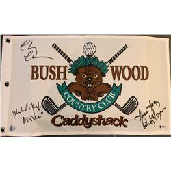 "Chevy Chase, Cindy Morgan, & Michael O'Keefe Signed ""Caddyshack"" Golf Pin Flag  (Beckett COA)"