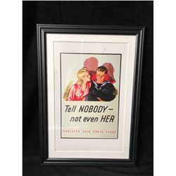 erTell Nobody-- Not Even Her : Careless Talk Costs Lives Framed Poster (14x22)