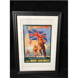 BACK THE GREAT ATTACK WITH WAR SAVINGS FRAMED POSTER (16X20)