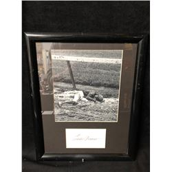 """EDDIE ARCARO AUTOGRAPHED LYING IN THE MUD AFTER A HORSE THREW HIM FRAMED 12"""" X 16"""" PHOTO (JSA)"""