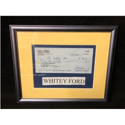 WHITEY FORD SIGNED BANK CHEQUE (FRAMED)