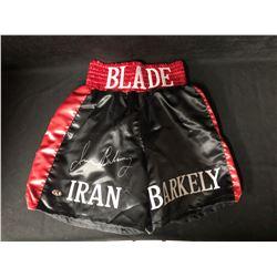 IRAN BARKLEY SIGNED BOXING TRUNKS W/ COA