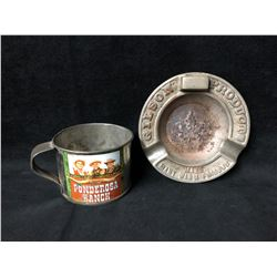 COLLECTIBLE VINTAGE TIN CUP & ASHTRAY LOT