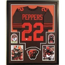 Jabrill Peppers Signed Cleveland Browns 34x42 Custom Framed Jersey (JSA COA)