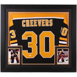"Gerry Cheevers Signed Boston Bruins 35x43 Custom Framed Jersey Inscribed ""HOF 85"" (JSA COA)"
