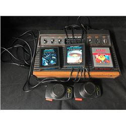 ATARI VIDEO GAME SYSTEM W/ GAMES & CONTROLLERS