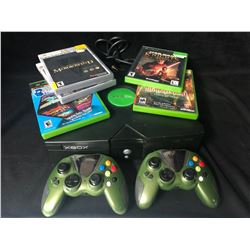 XBOX VIDEO GAME SYSTEM  W/ CONTROLLERS & GAMES