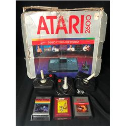 ATARI 2600 VIDEO GAME SYSTEM W/ GAMES & CONTROLLERS