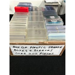 BOX OF PLASTIC CARD STORAGE BOXES & SLEEVES (200+ PIECES)
