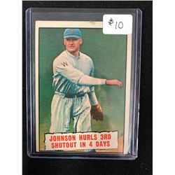 Baseball Thrills 1961 Topps Card #409 Johnson Hurls 3rd Shutout In 4 Days
