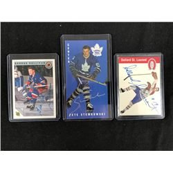 AUTOGRAPHED HOCKEY CARD LOT (SULLIVAN/ STEMKOWSKI/ ST. LAURENT)