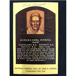 Earl Averill  Signed Baseball Hall Of Fame Plaque Postcard