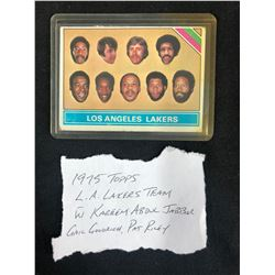 1975 TOPPS L.A LAKERS BASKETBALL TEAM CARD