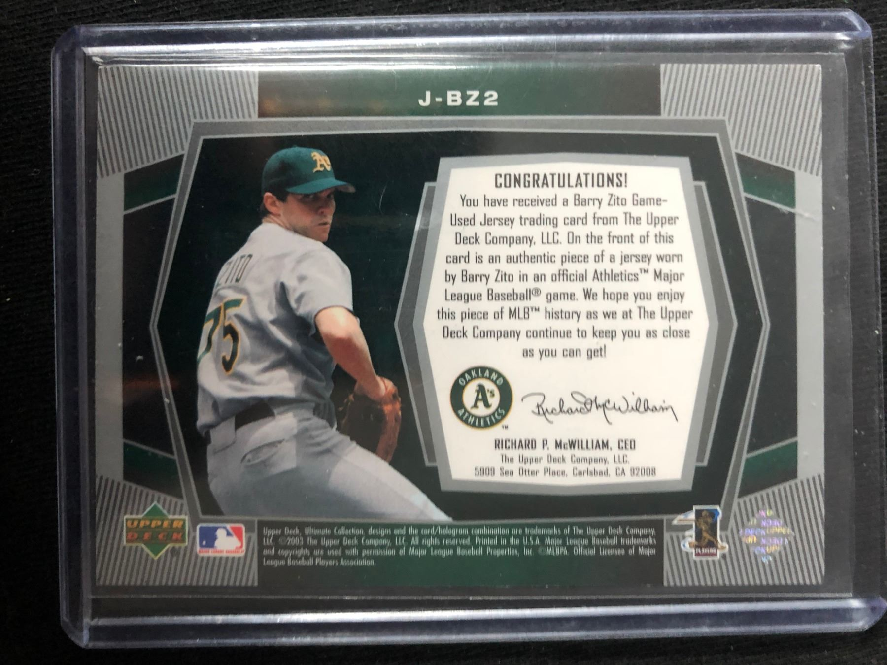 2003 Upper Deck Ultimate Collection Jersey J Bz2 Barry Zito Baseball Card