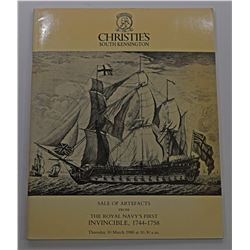Christie's South Kensington. SALE OF ARTIFACTS FROM THE ROYAL NAVY'S FIRST INVINCIBLE, 1744-1758