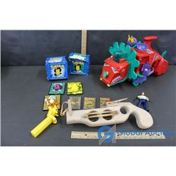 Wooden Elastic Gun, Pokemon Gold Cards and Misc.