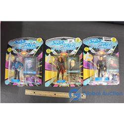 (3) Star Trek The Next Generation Action Figures - Cadet Wesley Crusher, Benzite, and K'ehleyr