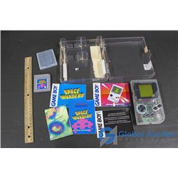 Nintendo Game Boy W/ Space Invaders Game, Booklets and Case - Working!
