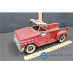 Red Tin Tonka Toy Pick Up Truck