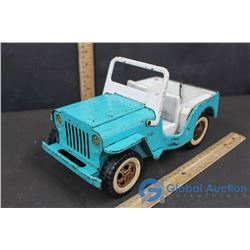 Light Blue Tin and Plastic Tonka Toy Jeep