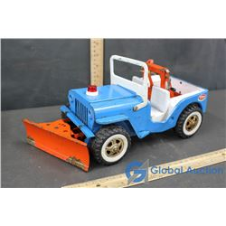 Light Blue Tin and Plastic Tonka Toy Jeep W/ Winch and Plow