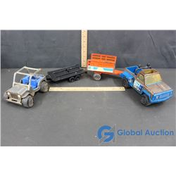 Tonka Pick up Truck W/ 2 Trailers and Tonka Side By Side