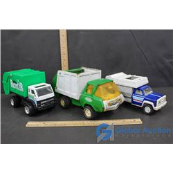 (3) Tonka Garbage/ Recycler Trucks - Tin and Plastic