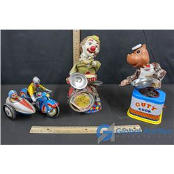 (3) Tin Toys - Wind Up Motorcycle W/ Sidecar, Drum Playing Clown, Cuty Cook