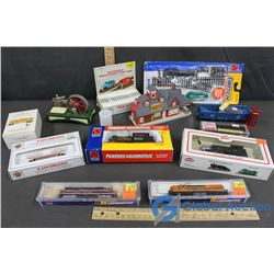 Misc. Model Train Items - NIB Engines, Phone Booth, Train Station, Electric Remote Control Switch, e