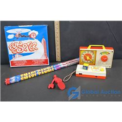 Smart Candle Fire Works (2), Fisher-Price Clock and Pocket Camera, Fun Copter and Red Army Guy toy