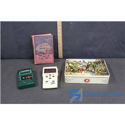 Electronic Football (2), Ned Myers book and Tin of Vintage Tupper Toys