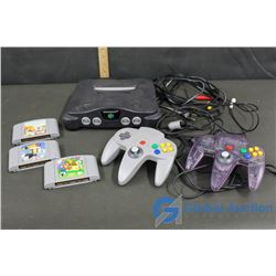 Nintendo 64 Console, 2 Controllers and 3 Games