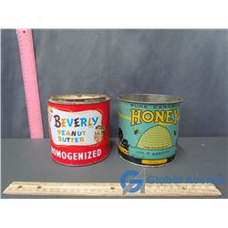 Vintage Honey and Peanut Butter Tins