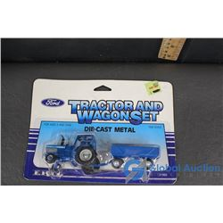 Blue Tractor and Wagon Set